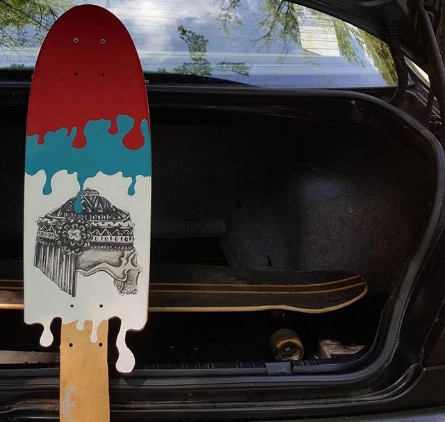 """PERISHABLE FIRECRACKER"" Medium: Acrylic and Micron on Wooden Santa Cruise board."