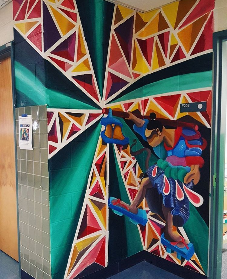"""""""The Hermit"""" Acrylic Mural Commission at Robinson Secondary School"""